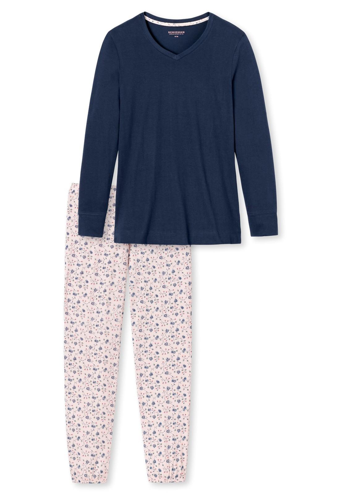 schiesser damen langer schlafanzug pyjama lang 154094. Black Bedroom Furniture Sets. Home Design Ideas